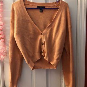 Peach short sweater cardigan